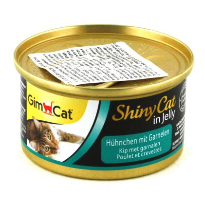 GimCat ShinyCat in jelly Консервы для кошек Курица c креветками в желе