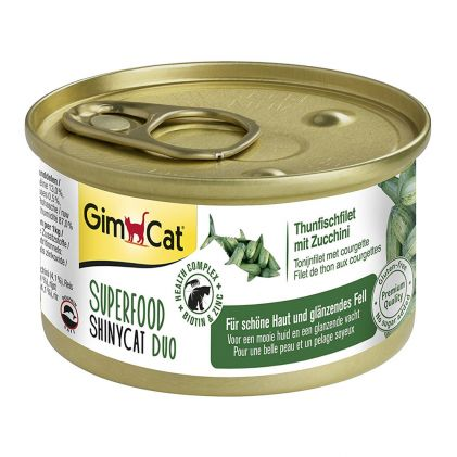 GimCat Superfood ShinyCat Duo Консервы для кошек тунец c цукини в бульоне