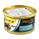 GimCat ShinyCat in jelly Консервы для кошек Тунец c креветками в желе