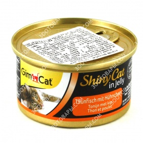 GimCat ShinyCat in jelly Консервы для кошек Тунец c курицей в желе