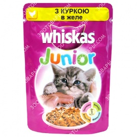 Whiskas JUNIOR 100 гр консерва для котят с курицей в желе